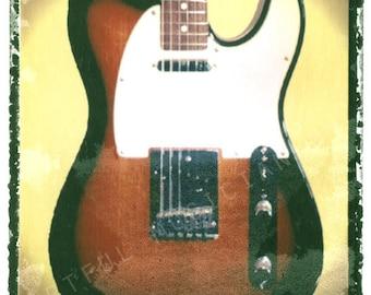 sunburst fender telecaster guitar art, music wall decor, musicians gift, gift for guy, gift for boyfriend, hipster, dude, rock n roll art