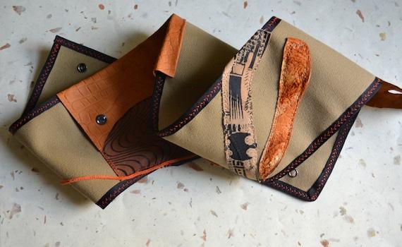 Canvas Hip Bag Belt - Rustic Leather Hip Bag - adjustable - SALE