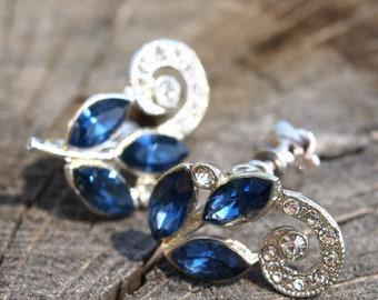 Sapphire Blue Glass Rhinestone Navette Flower Earrings Screwback Silver Tone Vintage