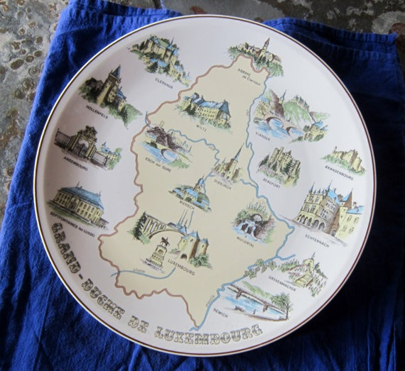 "Souvenir Plate Villeroy & Bock Souvenir Plate Luxembourgh 12"""