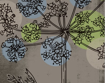 "Flower Mod Sky Blue Sage Green Cream on Warm Gray Polka Dots 22"" x 28"" Wrapped-Canvas Frame: Three"