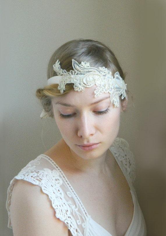 Floral Lace 'Zezette' Headband - Embroidered Bridal Hair Accessory - Boho Vintage Headband