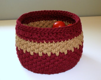 Deep Red Kitchen Bowl, Storage Bin, Cotton yarn Bread Basket, Fruit Bowl, Crocheted Office Storage  Basket Housewarming Gifts