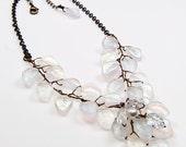 White Vintage Style Bib Necklace, White Leaf Necklace, White Beaded Necklace, White Bridal Necklace, Woodland Wedding Accessories,