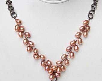 Peach Rose Pearl Necklace,  Beaded Necklace, Bridal Jewelry, Copper Jewelry