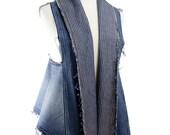 Reconstructed Denim Women's Scarf Vest