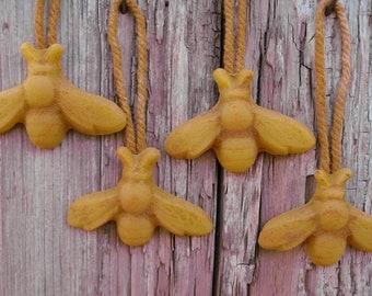 4 beeswax HONEYBEE ornaments