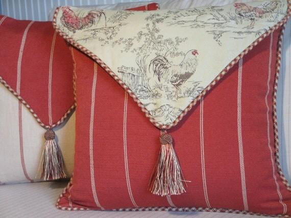French Country Pillow Cover Rooster Pillow Red And