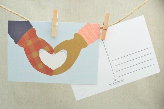 Christmas Postcard Set / Holiday Card Set / Card Sets / Valentines Day Postcards / Snowball Love Postcards