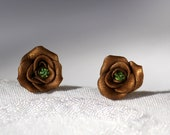Metallic Sunset Gold Rosette Rose flower bud stud earrings with sparkly light green rhinestone centers