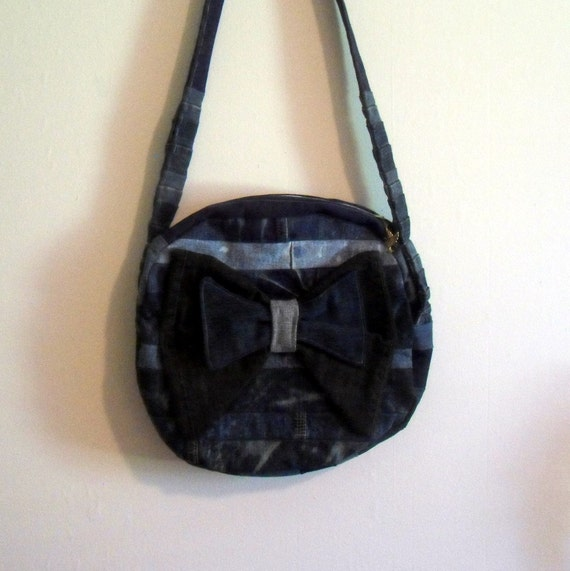 Denim Messenger Bag Sling Purse OOAK Distressed Upcycled Recycled Denim Canteen Style Cross-Body