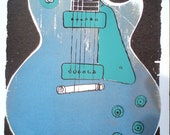 Large Guitar Original Screenprint based on a Gibson Les Paul -  One of a Kind- Free Shipping