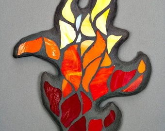 Stained Glass Mosaic Wall Art: Dancing Flame