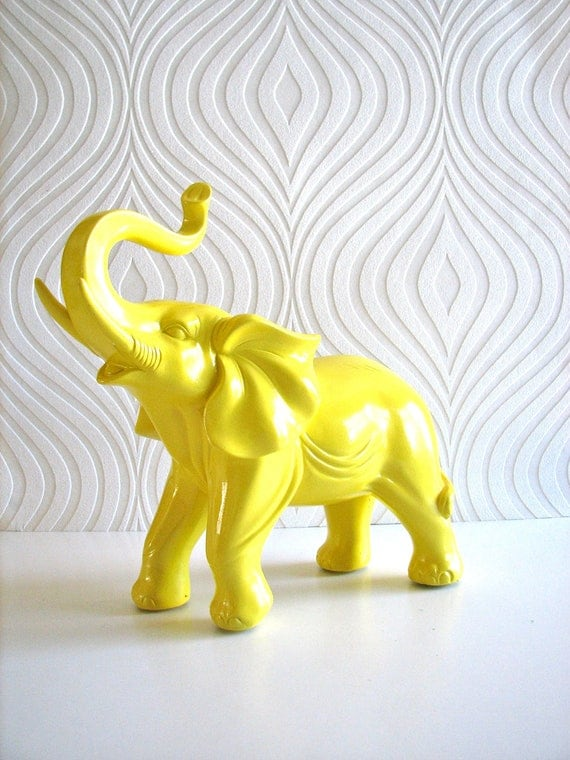 Ollie the fun glossy lemon yellow elephant animal statue:  office decor nursery decor children's room baby shower gift home decor
