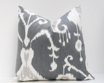 Pillows - Throw Pillow Covers - Decorative Pillows - Gray Pillow - Ikat Pillow - Euro Pillow - Euro Sham - Euro Pillow Covers - throw Pillow