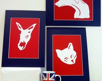 Handmade Paper Cut - Greyhound, Cat or Donkey