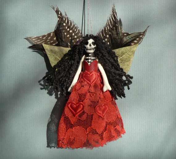 Day of the Dead Fairy Ornament. Handmade skull face Christmas fairy doll / peg doll.