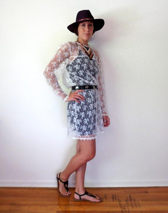 Sheer White Lace Long Sleeve Dress