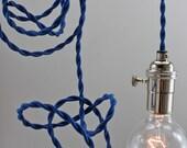 SALE 20% off Modern Blue Pendant Lighting, Hanging Bare Bulb Minimalist Light for Christmas