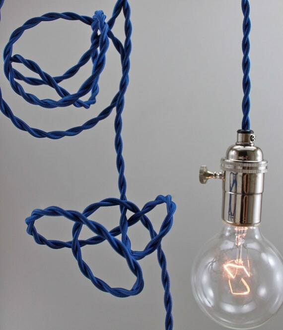 SALE 20% off Modern Blue Pendant Lighting, Hanging Bare Bulb Minimalist Light for Christmas