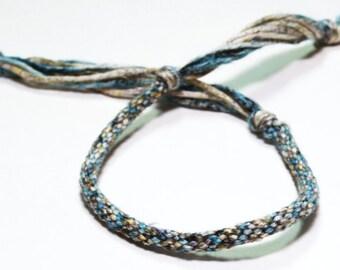 Kumihimo Mens Bracelet Egyptian Cotton Fiber Blue & Green Mans Jewelry