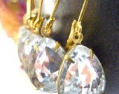 Bridesmaids earrings clear white rhinestones in gold settings Wedding bridal