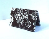 Brown Floral Business Card Wallet Holder Credit Card Case Small Wallet