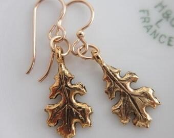 Oak Leaf Dangle Earrings - For Her, Birthday, Gift for Gardener, Fall, Autumn, Nature Lover, For Mom, Anniversary, Gift for Friend