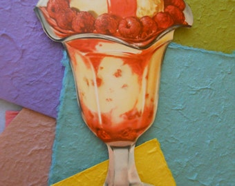 Raspberry Ice Cream Sundae 1960s Vintage Poster/Die Cut/Party Decor