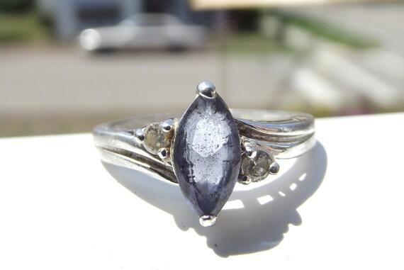 Vintage Silver Aquamarine Ring Size 8
