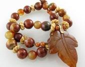 "Desert Jasper ""Autumn Leaf"" Necklace with Jade, Bone, Bronze, and a Copper Clasp   18 inches"