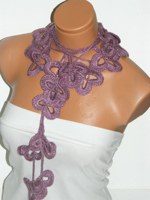 Discount Sale-Summer trend, crochet Pink Flower Lariat Scarf. Fashion Flower Scarves, Necklace...