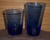 Vintage Libby Cobalt Blue Tumbler and High Ball Glasses