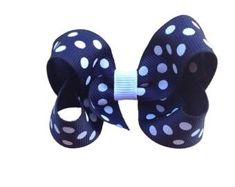 Navy blue polka dot bow - navy blue bow, toddler bow, boutique bows, girls hair bows, 3 inch bows, navy bows, polka dot bows, girls bows