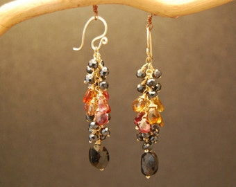 Earrings Black Spinel and Andalusite Princess 164