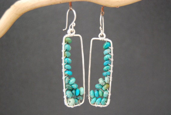 Hammered rectangle drop earrings genuine Green Turquoise Bohemian 81