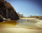 Summer Photography, River and lake print, Rocks cliffs river estuary, Turquoise blue sky and sand 8x12