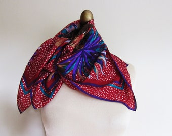 SILK scarf , VERA , tropical ,  garnet ,   Vera Nuemann