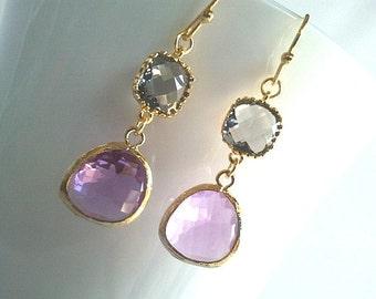 Gray EarringsLavendar Earrings - Bridesmaid Gift Wedding Bridal Jewelry Dangle, Drop, Purple, Gray, Statement Christmas GIFT