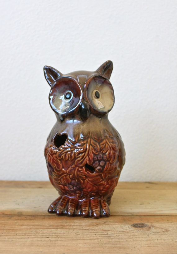 Owl Vintage Ceramic Figurine with Oak Leaves and Grapes