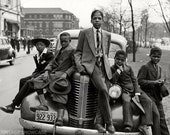 "African American ""Negro"" boys on car - Photo Reprint"