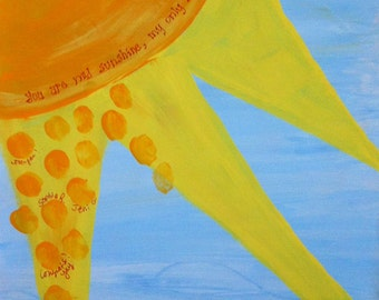 Baby Shower Guestbook Keepsake:You Are My Sunshine 8x10 Handpainted Canvas