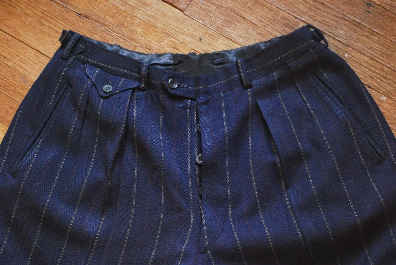1930s 40s Pin Stripe Wool Trousersside Waist Adjusters31