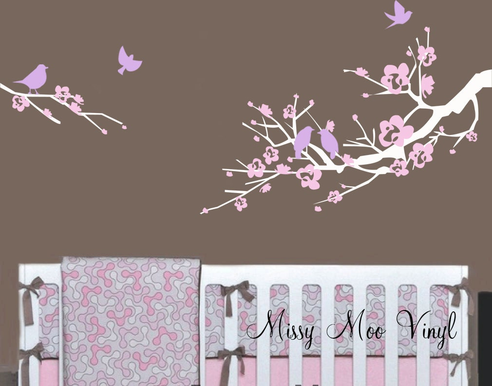 Vinyl Wall Decal Sweet Cherry Blossom Branch And By