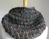 Classic Chunky Olive Green Cowl  - dark green wool with multicolored ribbon