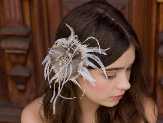 Grey and Tan ombre goose and Ostrich feather Bridal or bridesmaid Flower Fascinator
