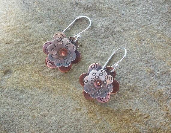 Copper and Sterling Silver Flower Earrings - Mixed Metal Earrings