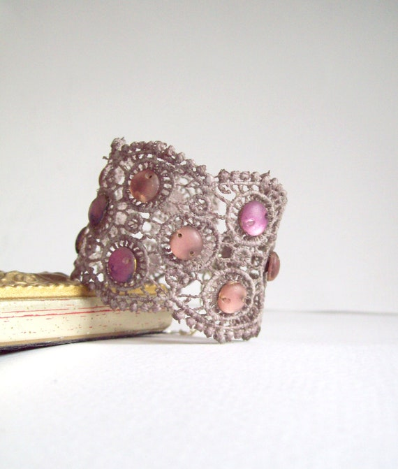 Gray Lace Cuff Bracelet Vintage Sequins, Unique Holiday gift for her, free gift wrap