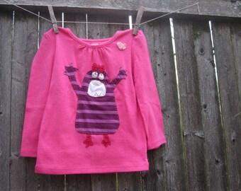 Hands Up Stripy Monster Girls T shirt