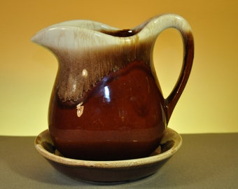 Vintage McCoy Brown Drip 1970s Pitcher and Saucer-Great Addition to vintage Thanksgiving or Christmas Dining Table